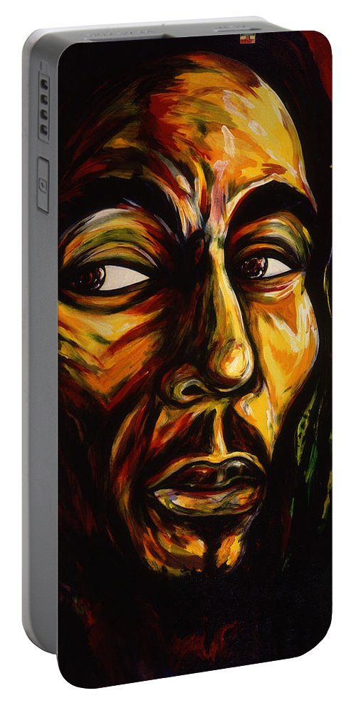 King Of Reggae Music Portable Battery Charger featuring the painting Bob Marley Reggae King by Cardell Walker