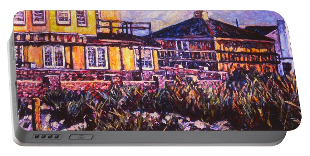 Landscape Portable Battery Charger featuring the painting Rehoboth Beach Houses by Kendall Kessler