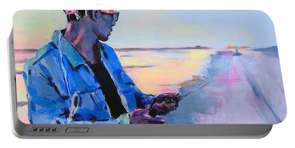 Rekkie Van Bimre Portable Battery Charger featuring the painting Rekkie Van Bimre by Lucia Hoogervorst