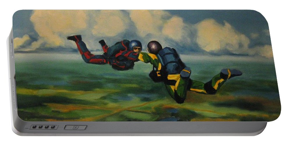 Skydivers Portable Battery Charger featuring the painting Relative Work by John Malone