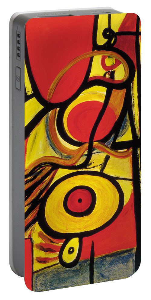 Abstract Art Portable Battery Charger featuring the painting Relativity 2 by Stephen Lucas