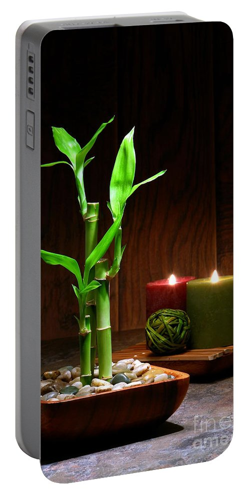 Bamboo Portable Battery Charger featuring the photograph Relaxation And Meditation by Olivier Le Queinec