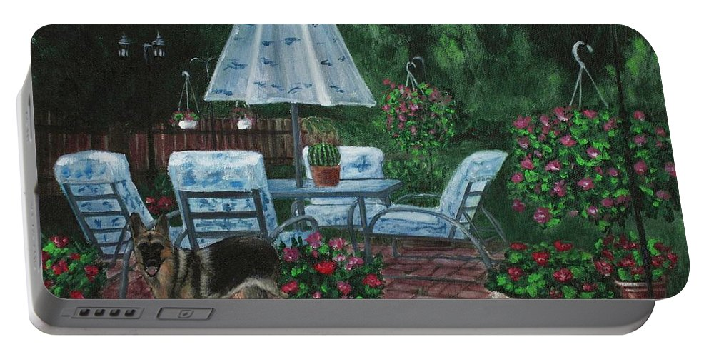 Plant Portable Battery Charger featuring the painting Relaxing Place by Anastasiya Malakhova