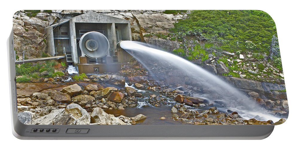 Ponderosa Pines Portable Battery Charger featuring the photograph Release And Discharge Lower Bear River by SC Heffner