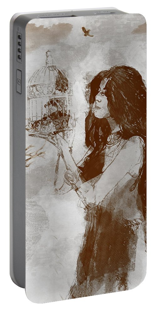 Bird Portable Battery Charger featuring the digital art Release by Galen Valle