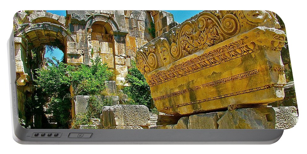 Relief In The Coutyard In Myra Portable Battery Charger featuring the photograph Relief In The Coutyard In Myra-turkey by Ruth Hager