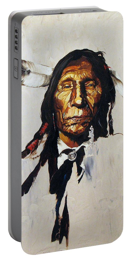Southwest Art Portable Battery Charger featuring the painting Remember by J W Baker