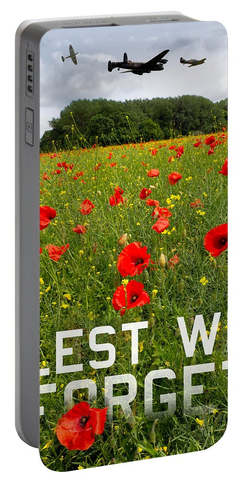 Avro Lancaster Portable Battery Charger featuring the photograph Remember Them Poster Version by Gary Eason