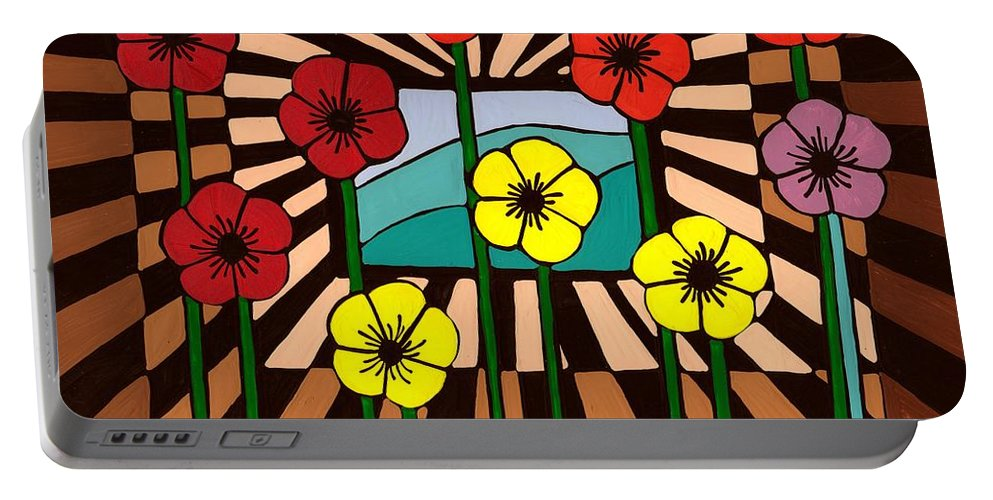 Remembrance Poppy Portable Battery Charger featuring the painting Remembrance Poppy by Barbara St Jean