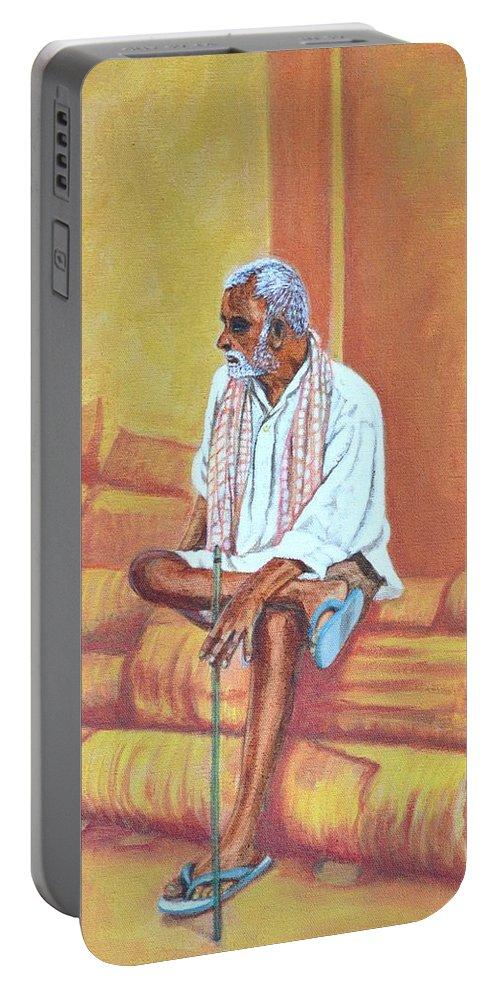 Usha Portable Battery Charger featuring the painting Reminiscing by Usha Shantharam