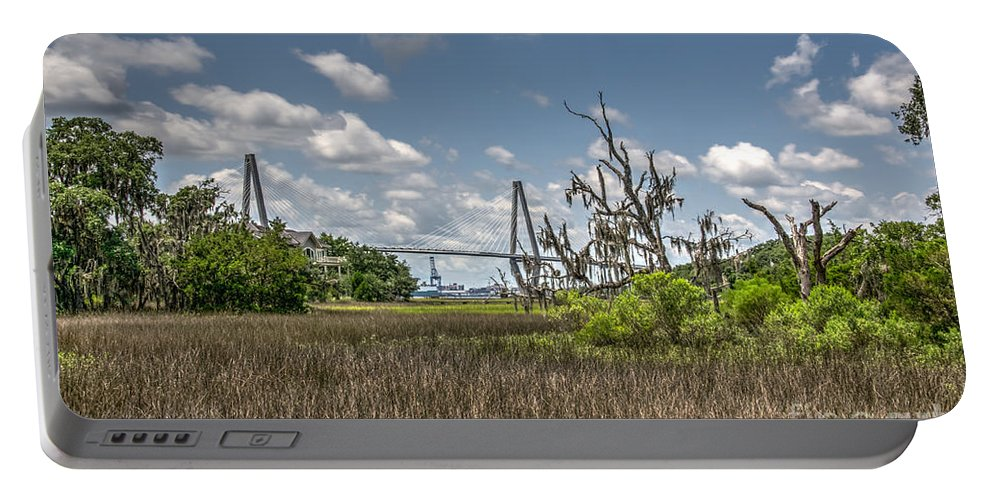 Arthur Ravenel Jr. Bridge Portable Battery Charger featuring the photograph Remleys Point Bridge View by Dale Powell
