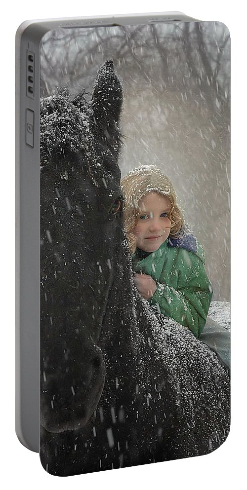 Friesian Portable Battery Charger featuring the photograph Remme And Rory by Fran J Scott