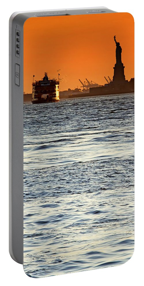 Statue Portable Battery Charger featuring the photograph Remote Lady Liberty by Jaroslav Frank