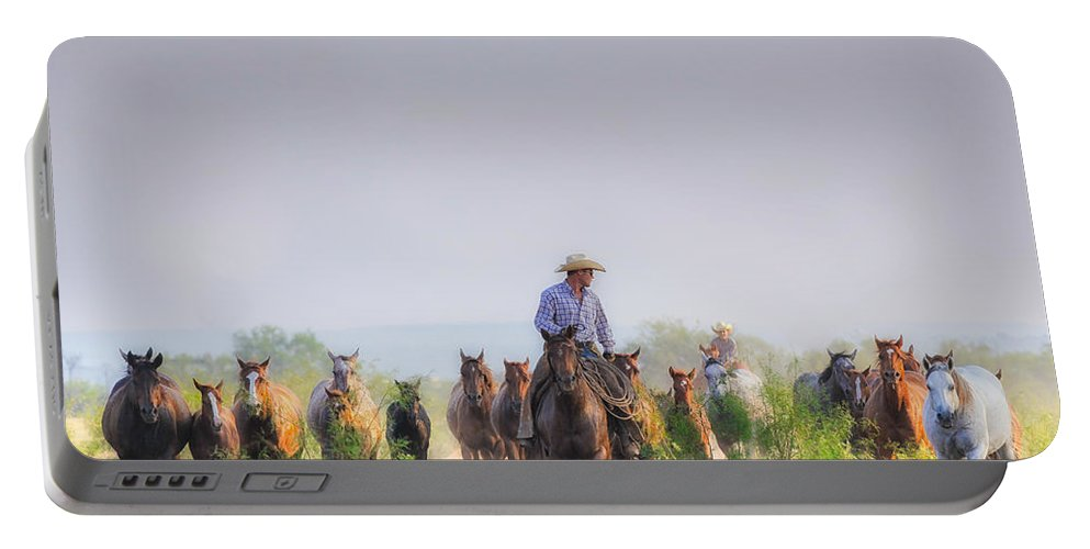 Horses Portable Battery Charger featuring the photograph Remuda Run by Kelli Brown