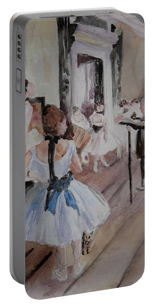 The Paintings Portable Battery Charger featuring the painting Dance Class By Degas by Donna Walsh