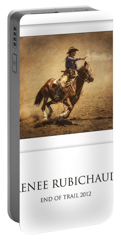 Mounted Shooting Portable Battery Charger featuring the photograph Renee Rubichaud At End Of Trail by Priscilla Burgers