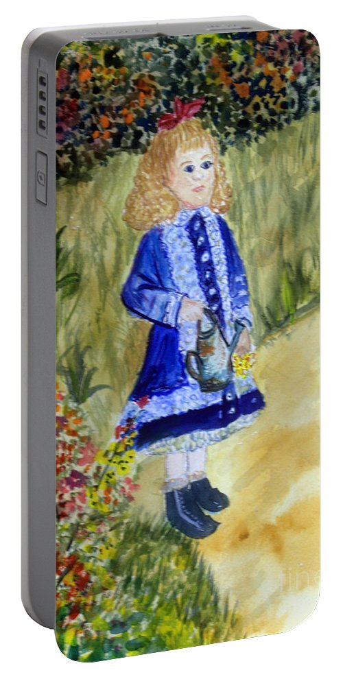 Flowers Portable Battery Charger featuring the painting Renoir Girl With Watering Can In Watercolor by Donna Walsh