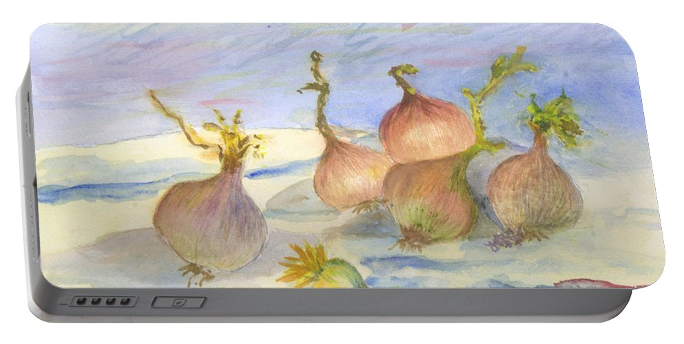 Art Portable Battery Charger featuring the painting Renoirs Onions In Watercolor by Donna Walsh