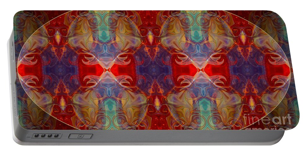 16x9 Portable Battery Charger featuring the digital art Repeating Realities Abstract Pattern Artwork By Omaste Witkowski by Omaste Witkowski