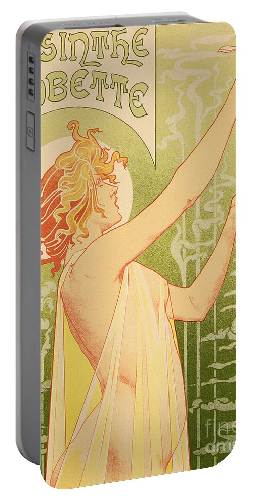 Advert; Advertisement; Alcohol; Liqueur; Alcoholic Drink; Beverage; Art Nouveau; Female; Holding Up A Glass Portable Battery Charger featuring the painting Reproduction Of A Poster Advertising 'robette Absinthe' by Livemont