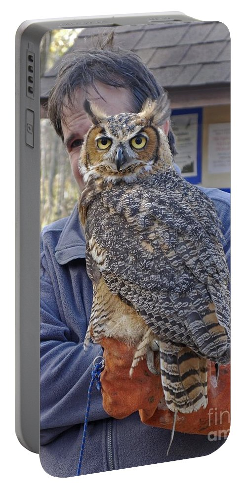 Owl Portable Battery Charger featuring the photograph Rescued by Ann Horn