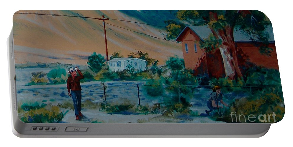 Canvas Prints Portable Battery Charger featuring the painting Reservation Life by Joseph Juvenal