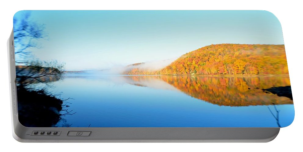 Lake Portable Battery Charger featuring the photograph Reservoir At Dawn by D White