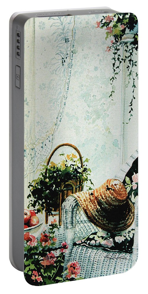 Garden Room Still Life Portable Battery Charger featuring the painting Rest From Garden Chores by Hanne Lore Koehler