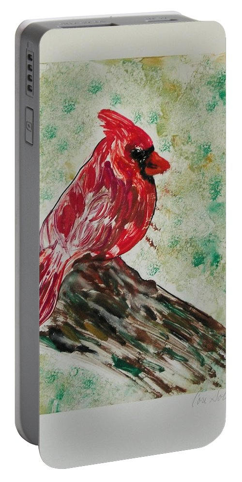 Bird Portable Battery Charger featuring the mixed media Rest Stop by Cori Solomon