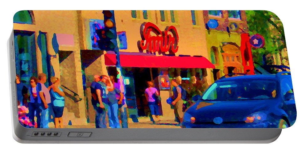 Montreal Portable Battery Charger featuring the painting Restaurant Amir Internet Cafe Fast Food Plateau Montreal City Street Scene Art Carole Spandau by Carole Spandau