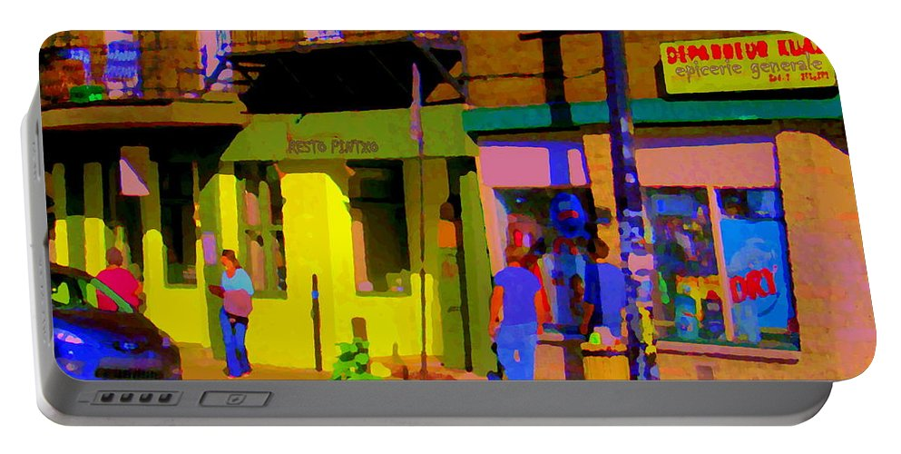 Montreal Portable Battery Charger featuring the painting Restaurant El Pintxo Rue Roy Plateau Montreal Basque Food Spanish Cafe City Scene Art Carole Spandau by Carole Spandau