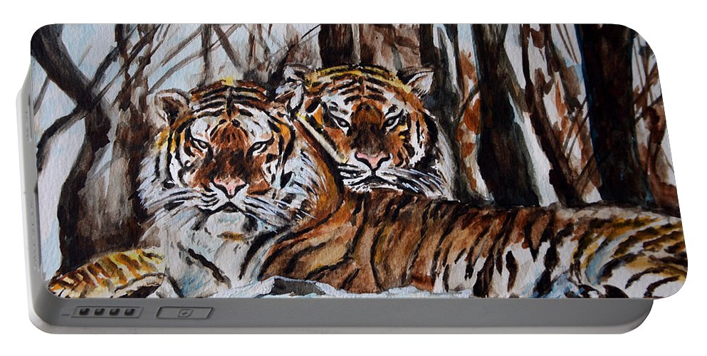 Tiger Portable Battery Charger featuring the painting Resting by Harsh Malik
