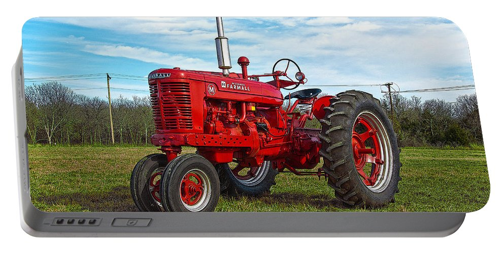 Tractor Portable Battery Charger featuring the photograph Restored Farmall Tractor Hdr by Charles Beeler