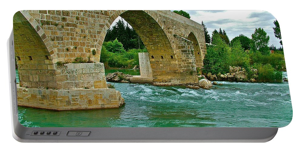 Restored Roman Bridge Over Eurynedan River Portable Battery Charger featuring the photograph Restored Roman Bridge Over Eurynedan River-turkey by Ruth Hager