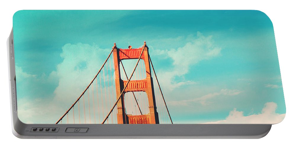 San Francisco Portable Battery Charger featuring the photograph Retro Golden Gate - San Francisco by Melanie Alexandra Price