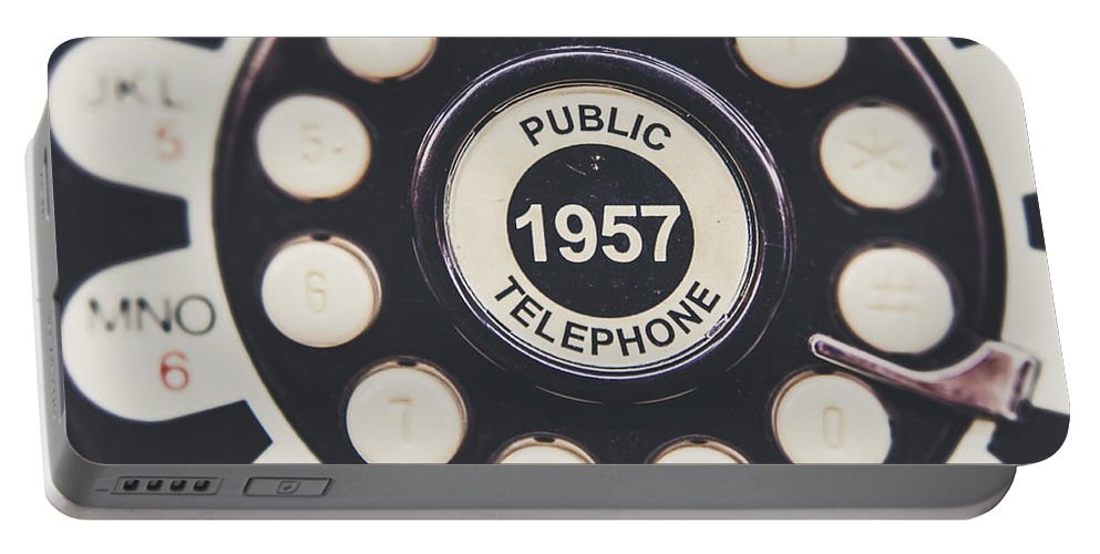 Retro Telephone Portable Battery Charger featuring the photograph Retro Telephone 1957 Public Telephone by Lisa Russo
