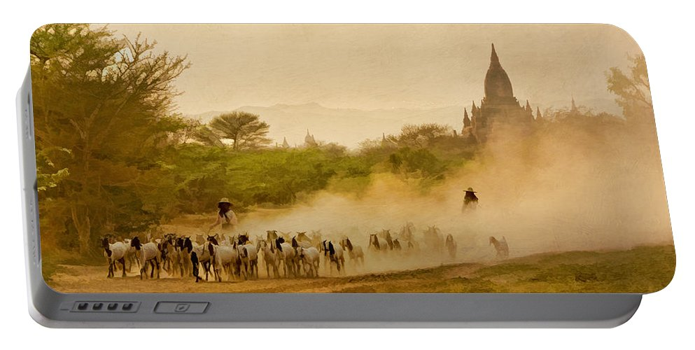 Myanmar Portable Battery Charger featuring the photograph Returning From Pasture 4 by Claude LeTien
