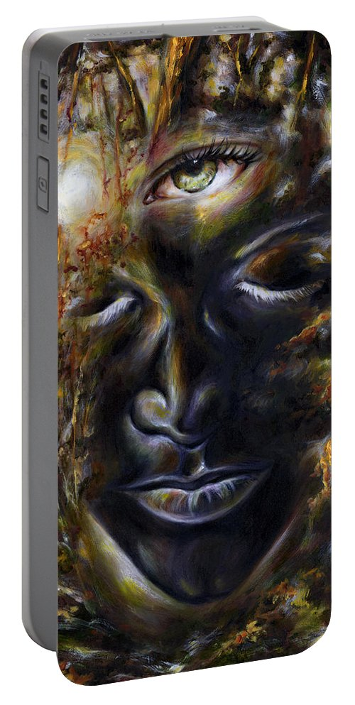 Eye Portable Battery Charger featuring the painting Revelation by Hiroko Sakai