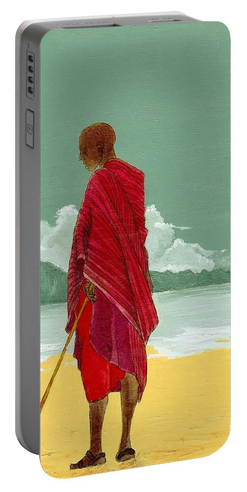 Figurative Painting Portable Battery Charger featuring the painting Reverence by Edith Peterson