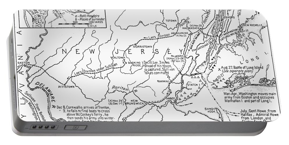1776 Portable Battery Charger featuring the photograph Revolutionary War Map, 1776 by Granger