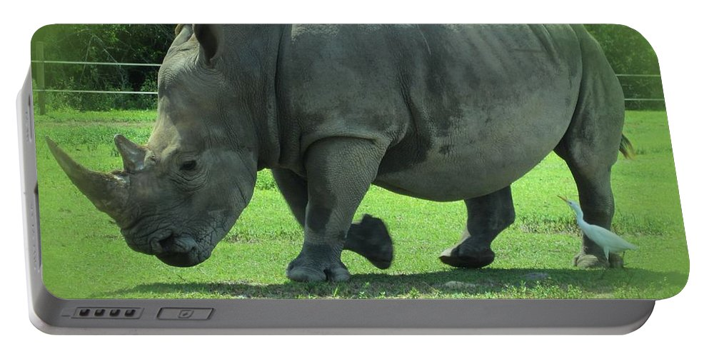 Rhino Portable Battery Charger featuring the photograph Rhino And Friend by MTBobbins Photography
