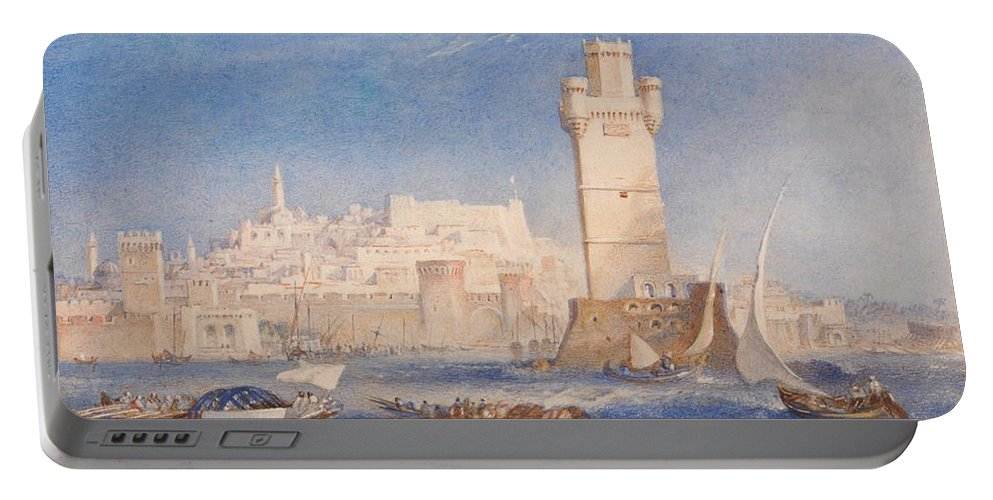 1823 Portable Battery Charger featuring the painting Rhodes by JMW Turner