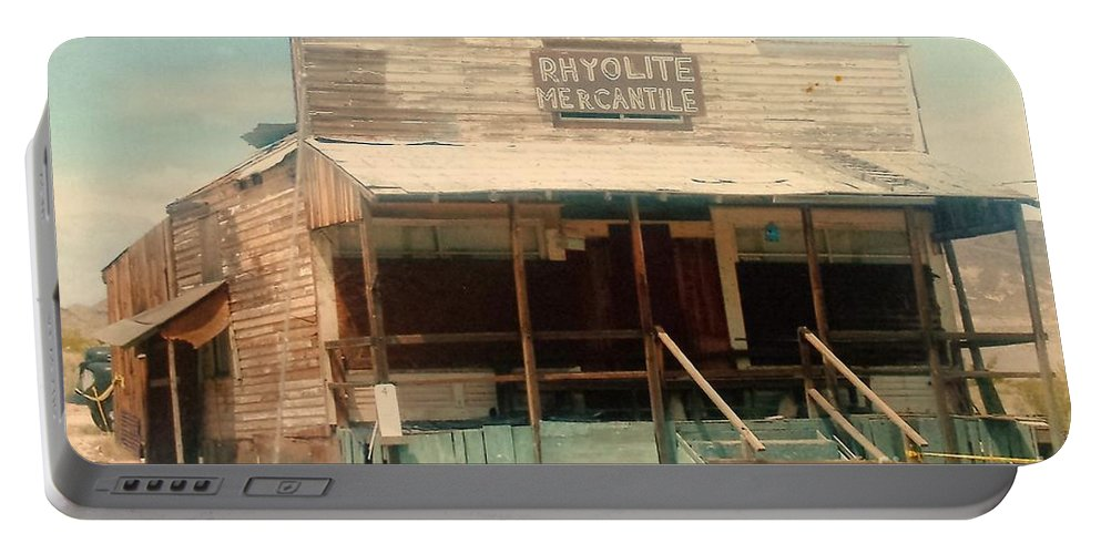 Rhyolite Portable Battery Charger featuring the photograph Rhyolite Mercantile by Lisa Byrne