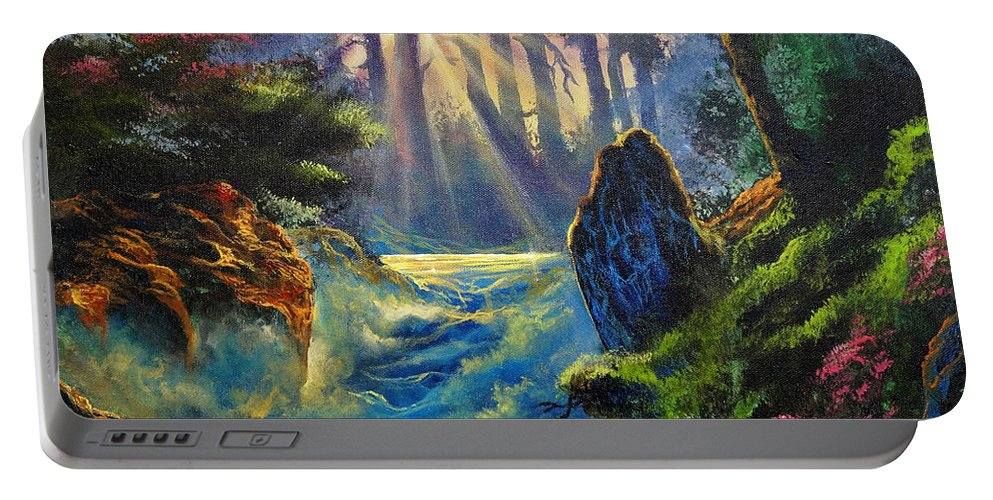 Landscape Portable Battery Charger featuring the painting Rhythms Of A Vision by Marco Antonio Aguilar