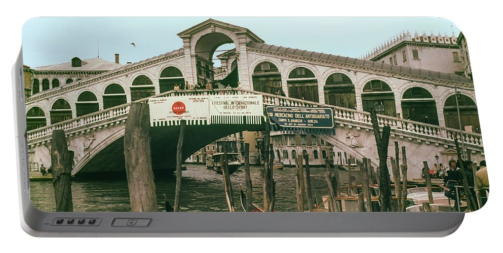 Rialto Bridge Venice Bridges Canal Canals Boat Boats Structure Structures Building Buildings Dock Docks Water City Cities Cityscape Cityscapes People Person Persons Italy Portable Battery Charger featuring the photograph Rialto Bridge by Bob Phillips