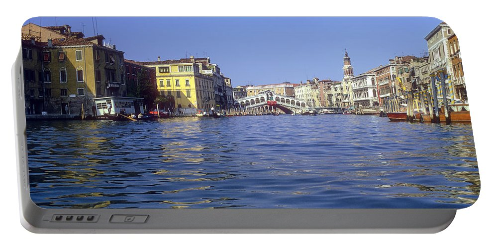 Rialto Bridge Venice Grand Canal Canals Building Buildings Structure Structures Architecture Water Boat Boats Bridges Church Churches Gondola Gondolas City Cities Cityscape Cityscapes Italy Portable Battery Charger featuring the photograph Rialto Bridge In The Grand Canal by Bob Phillips