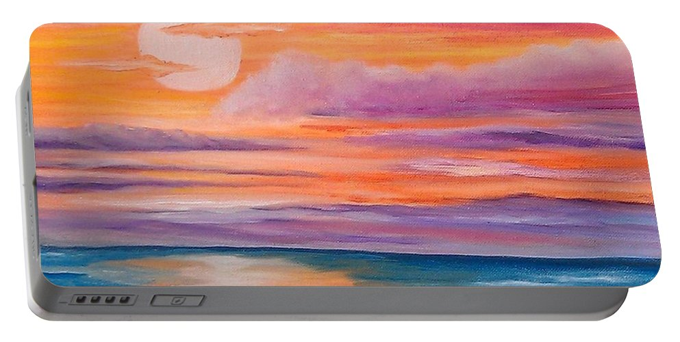 Sunset Portable Battery Charger featuring the painting Ribbons In The Sky by Holly Martinson