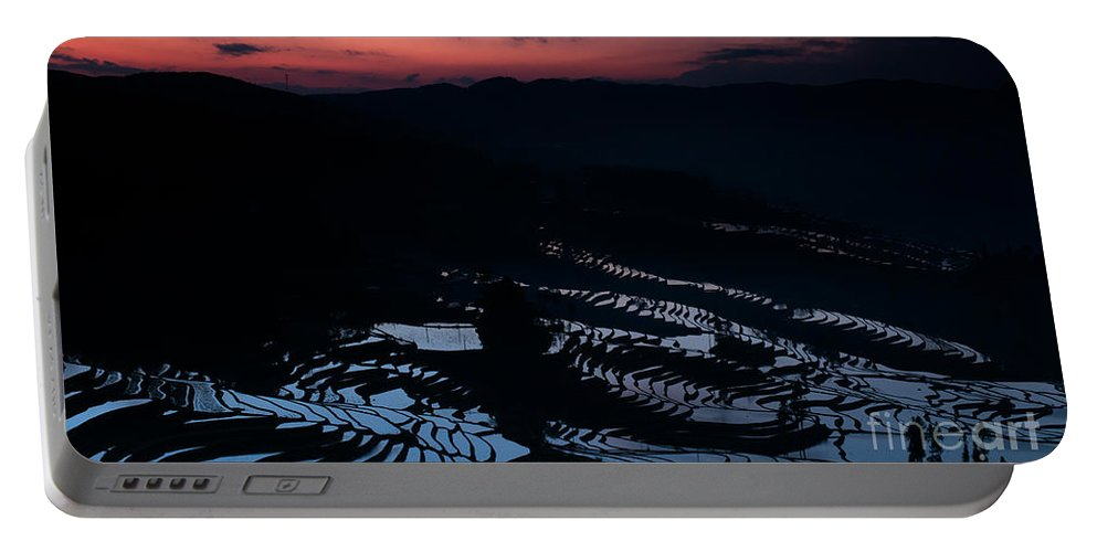 Agriculture Portable Battery Charger featuring the photograph Rice Terrace After Sunset by Kim Pin Tan