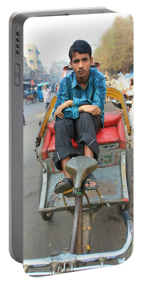 India Portable Battery Charger featuring the photograph Rickshaw Driver India by Amanda Stadther