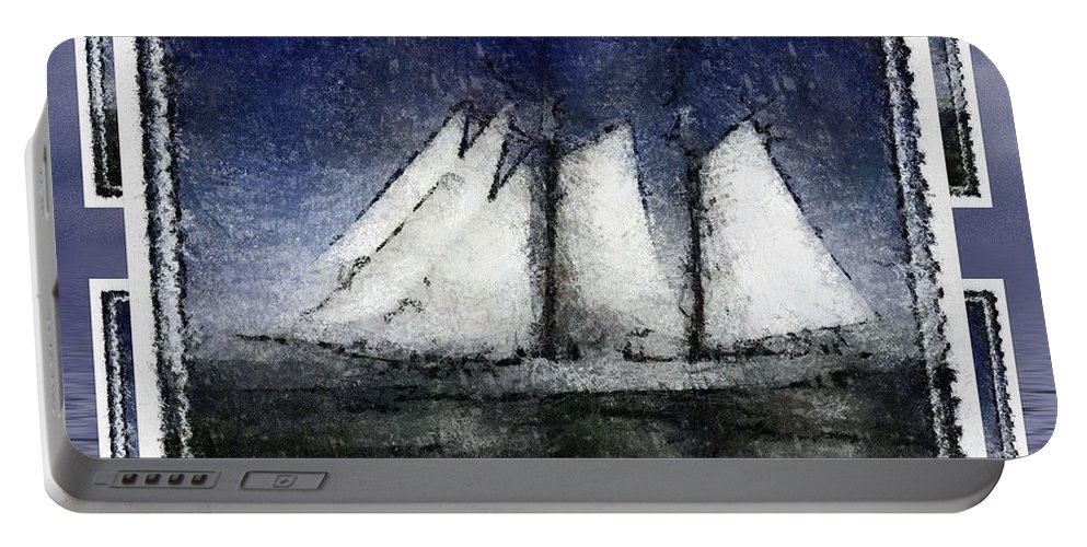 Sailing Portable Battery Charger featuring the digital art Riding The Wind by Mario Carini